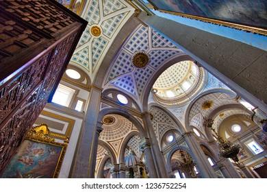 Mexico, Puebla-18 April, 2018: Landmark Central Puebla Cathedral (Catedral Basilica de Puebla)