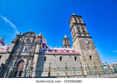 Mexico, Puebla-18 April, 2018: Landmark Central Puebla Cathedral (Catedral Basilica de Puebla)