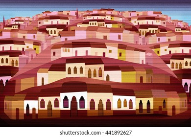 Mexico Pueblo Folk Art Colonial Style Houses on hills Illustration
