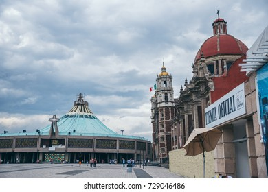 MEXICO - SEPTEMBER 20: Basilica of Guadalupe square picture showing both the modern and old churches,  September 20, 2017 in Mexico City, Mexico