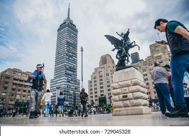 MEXICO - SEPTEMBER 20: Crowd of people at the Palace of Fine arts plaza with the latin american tower in the background, September 20, 2017 in Mexico City, Mexico