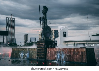 MEXICO - SEPTEMBER 25: Statue of Minerva on a fountain monument, September 25, 2017 in Guadalajara, Mexico