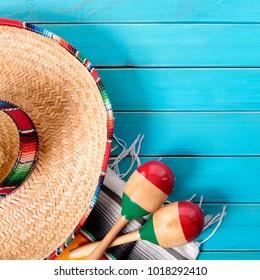 Mexico sombrero cinco de mayo wood background