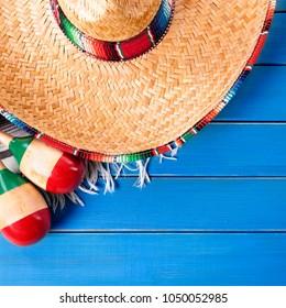 KIDS Mexican Fiesta Palm Straw SOMBRERO Hat SERAPE TRIM cinco de mayo