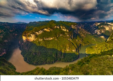Mexico. Sumidero Canyon National Park (state of Chiapas). Grijalva River flows through natural canyon seen from Chiapas viewpoint