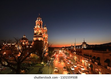 In Mexico sunset view of Morelia city and cathedral with a royal blue sky.