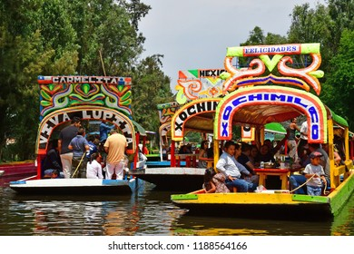 Mexico;  United Mexican State - may 13 2018 : touristy and restaurant boat on the canal in Xochimilco borough