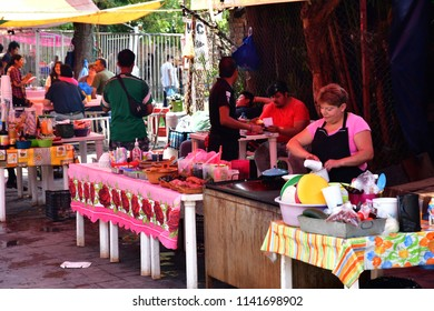 Mexico;  United Mexican States - may 13 2018 : touristy and souvenir market near the pier in Xochimilco