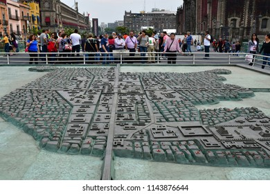 Mexico;  United Mexican States - may 13 2018 : model of the old town in the city center