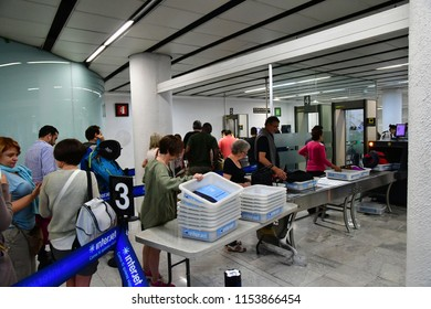 Mexico;  United Mexican StateS - may 14 2018 : body and luggage inspection in the airport