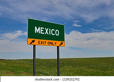 """""""Mexico"""" US style interstate / motorway exit sign."""