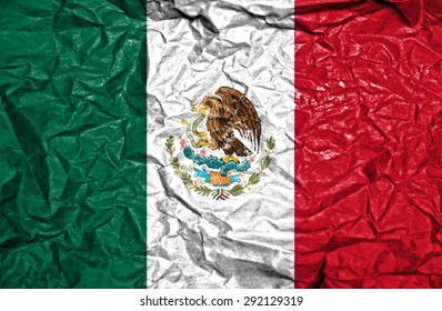 Mexico vintage flag on old crumpled paper background