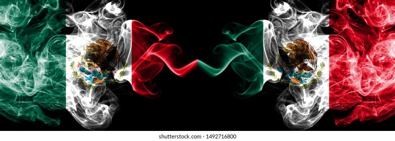 Mexico vs Mexico, Mexican smoky mystic flags placed side by side. Thick colored silky abstract smokes banner of Mexican and Mexico, Mexican