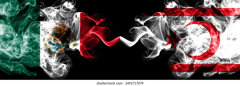 Mexico vs Northern Cyprus smoky mystic flags placed side by side. Thick colored silky abstract smokes banner of Mexican and Northern Cyprus