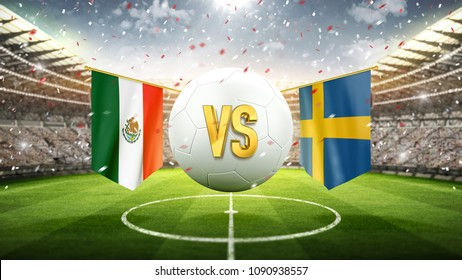 Mexico vs Sweden. Soccer concept. White soccer ball with the flag in the stadium, 2018. 3d render