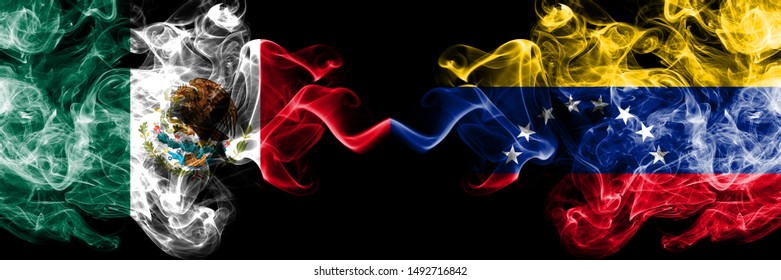 Mexico vs Venezuela, Venezuelan smoky mystic flags placed side by side. Thick colored silky abstract smokes banner of Mexican and Venezuela, Venezuelan