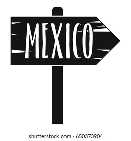 Mexico wooden direction arrow sign icon in simple style isolated on white background  illustration