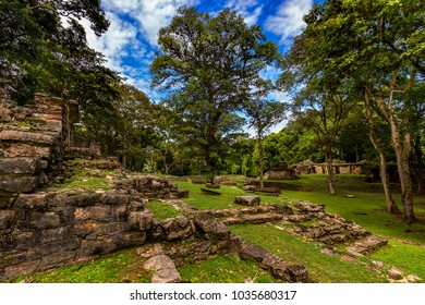 Mexico. The Yaxchilan Archaeological Park, Mayan city hidden in the Lacandon Jungle. Structures of Central Acropolis