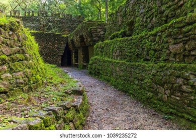 Mexico. The Yaxchilan Archaeological Park, the Mayan city hidden in the Lacandon Jungle - entrance to the Labyrinth (Structure number 19)