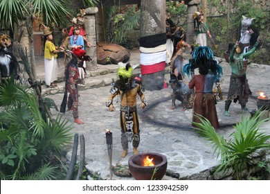 "Mexico, Yucatan Peninsula - October 29, 2018: Eco-archeological park Xcaret Xcaret, which translates from Maya language, means ""small bay"", Maya is a people (group of related peoples) of Indian origin"