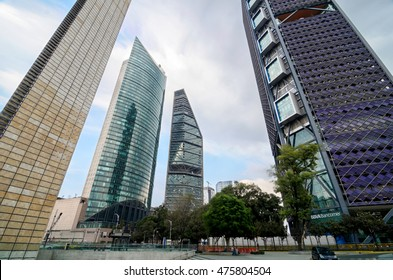 MEXICO-CITY, MEXICO, 10 OCTOBER, 2015: Bottom-up view to skyscrapers of Mexico-city