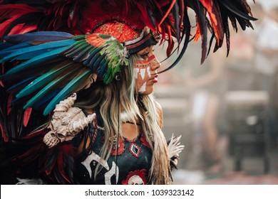 MexicoCity, Mexico - Decembre 22, 2017: Aztec dancers dancing in the Zocalo in Mexico City, DF, Mexico.