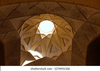Meybod, Iran - April 2016. Inside Meybod Water Reservoir. The dome of the building. An ab anbar (water reservoir) in the central desert city of Meybod, Iran