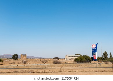 MEYERTON, SOUTH AFRICA, JULY 30, 2018: A blockhouse, dating from the Boer War, is visible next to the Blockhouse One Stop near Meyerton in the Gauteng Province of South Africa