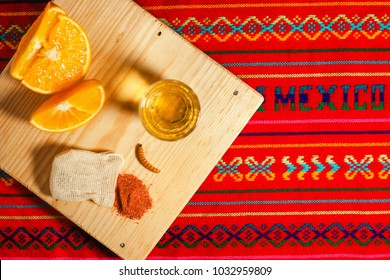 Mezcal mexican drink and orange with worm salt in oaxaca mexico