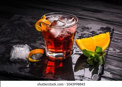 Mezcal Negroni cocktail. Smoky Italian aperitivo.