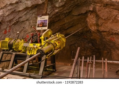 MEZICA, SLOVENIA - SEPTEMBER 21th 2018: Probing drill drilling the probe holes in led and zinc mine museum in Mezica