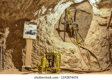 MEZICA, SLOVENIA - SEPTEMBER 21th 2018: Drill drilling the holes for explosives in led and zinc mine museum in Mezica