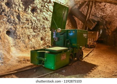 MEZICA, SLOVENIA -  - SEPTEMBER 21th 2018: Trolleys for transporting ore standing at the loading ramp led and zinc mine museum in Mezica