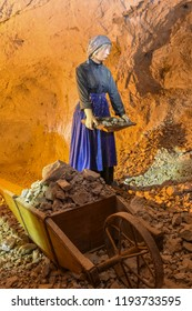 MEZICA, SLOVENIA -  - SEPTEMBER 21th 2018: Representation of a woman collecting led and zinc ore in mine museum in Mezica