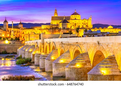 Mezquita Cathedral or The Great Mosque, illuminated at dusk in Cordoba, Andalusia, Spain