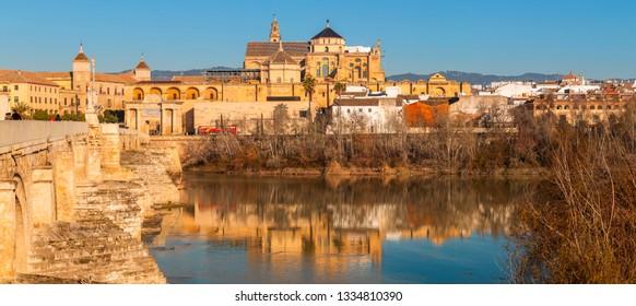 Mezquita Cathedral and Roman bridge in Cordoba, Spain