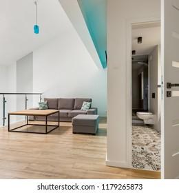Mezzanine small living room and open bathroom door