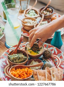 Mezze platter with hummus and falafel