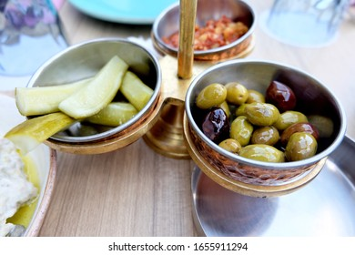 Mezze - Selection of Middle Eastern dishes.  Pickles and olives.