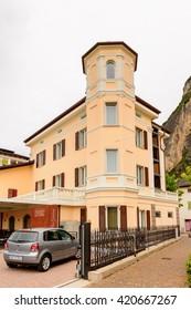 MEZZOCORONA, ITALY - MAY 2, 2016: Architecture of Mezzocorona, Italy.  A comune in Trentino in the northern Italian region Trentino-Alto Adige Sudtirol