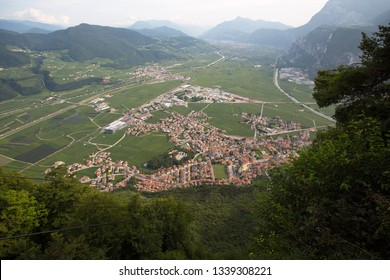 Mezzocorona, view after via ferrata burrone giovanelli. Looking down in the Valley of the Adige.