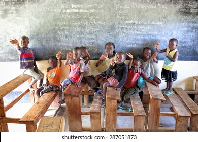 MFANGANO ISLAND - KENYA - DECEMBER 26, 2014: Unidentified orphans in an orphan boarding school on December 26, 2014 on Mfangano Island, Kenya. Many children lost their parents because they died of HIV