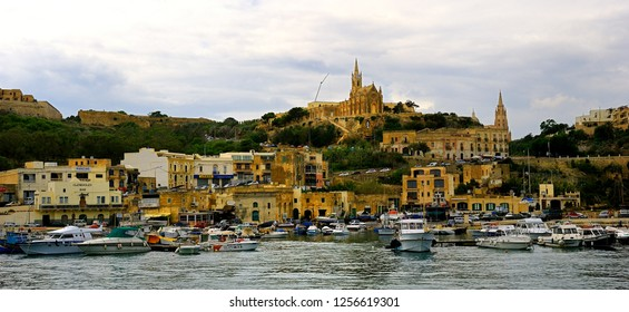 Mgarr harbour, Gozo - 8th October 2018:pleasure craft in the harbour of Mgarr