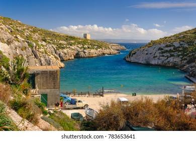 Mgarr ix-Xini bay on Gozo island, Malta