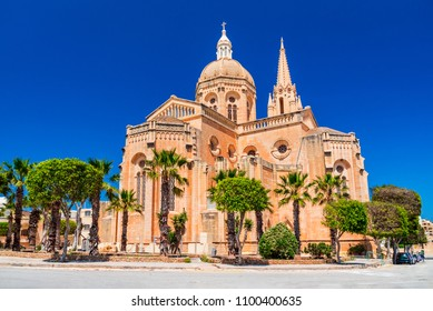 Mgarr, Malta. Maltese gothic church of Ghajnsielem in Gozo island.