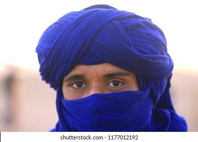 M'Hamid, Ouarzazate province / Morocco - 11/15/2017 : portrait of a Berber in M'Hamid, Morocco