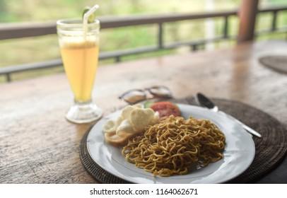Mi goreng or mee goreng mamak, Indonesian cuisine, spicy fried noodles.
