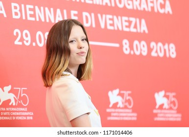 Mia Goth attends 'Suspiria' photocall during the 75th Venice Film Festival at Sala Casino on September 1, 2018 in Venice, Italy.