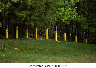 Miallet, Dordogne/France - 05/01/2019 : Yellow poles representing the ecosystem on the banks and in the water