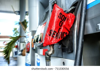 MIAMI - 06 SEPT 2017 - Gas pump depleted. People of Miami hoards gasoline, fresh water and supplies foreseeing the chance of Hurricane Irma storm Florida